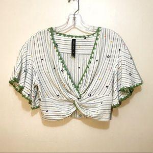Banjara Crop V-Neck Top With Bell Sleeves